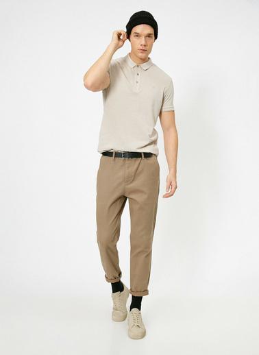 Koton Polo Yaka Isleme Detaylı Desenli Kumas Slim Fit T-Shirt Kahve